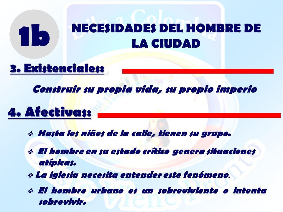 1b 4. Afectivas: NECESIDADES DEL HOMBRE DE LA CIUDAD 3. Existenciales: