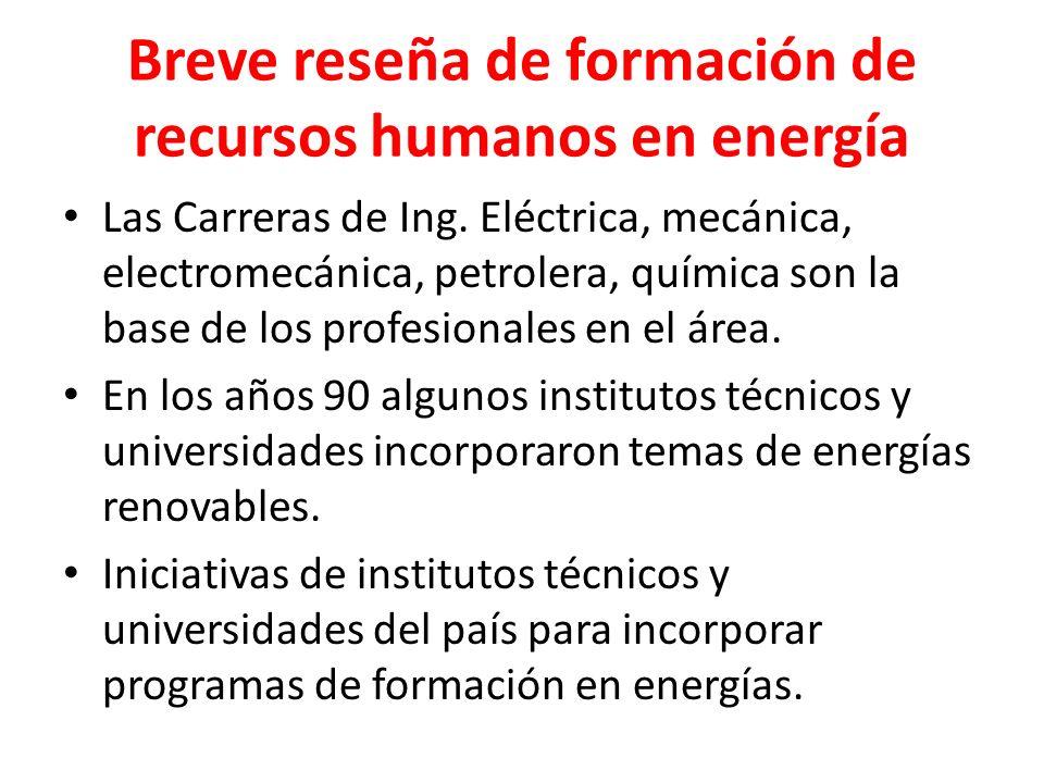 Breve reseña de formación de recursos humanos en energía