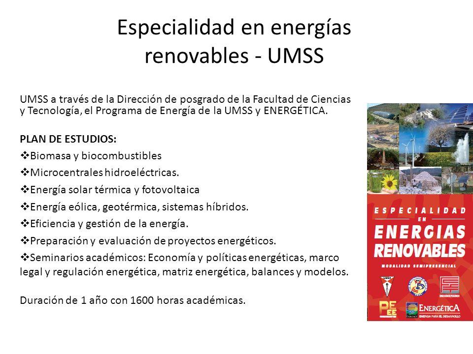 Especialidad en energías renovables - UMSS