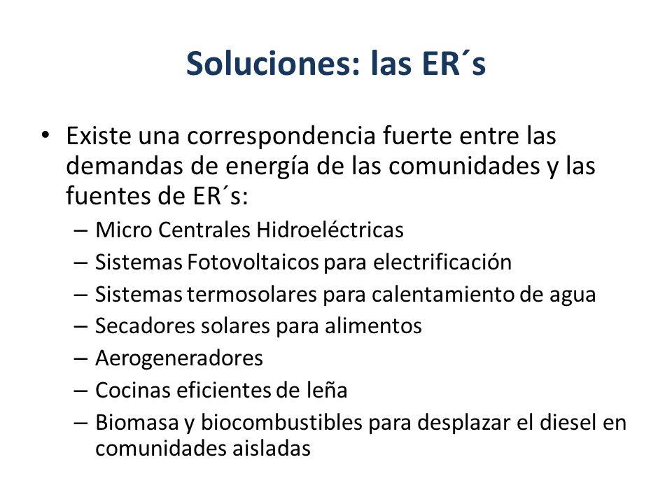 Soluciones: las ER´s Existe una correspondencia fuerte entre las demandas de energía de las comunidades y las fuentes de ER´s: