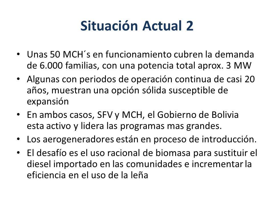 Situación Actual 2 Unas 50 MCH´s en funcionamiento cubren la demanda de 6.000 familias, con una potencia total aprox. 3 MW.