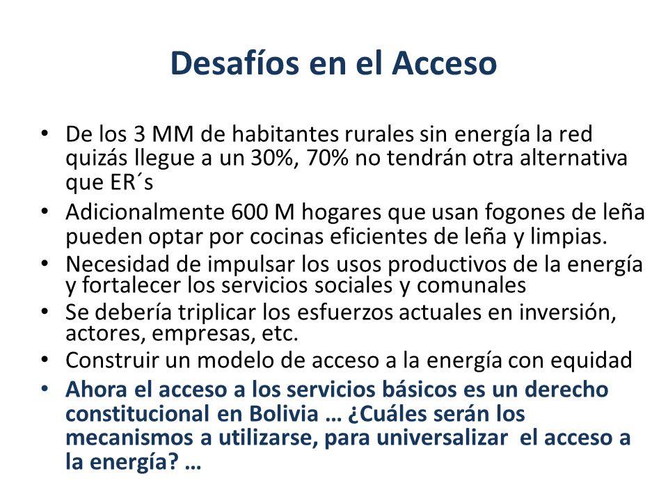 Desafíos en el Acceso De los 3 MM de habitantes rurales sin energía la red quizás llegue a un 30%, 70% no tendrán otra alternativa que ER´s.