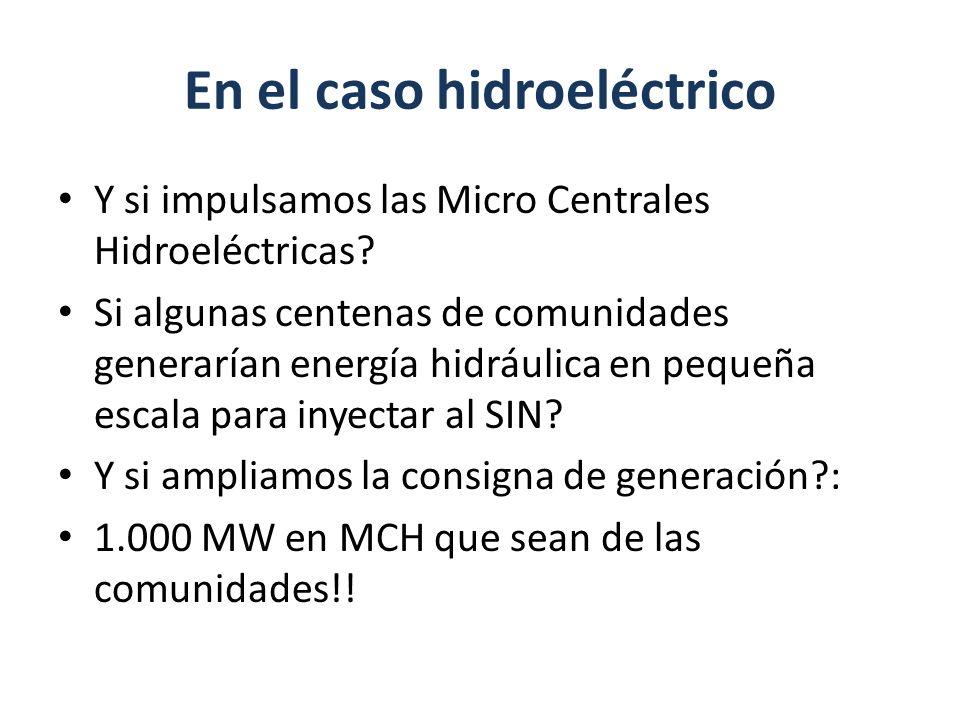En el caso hidroeléctrico