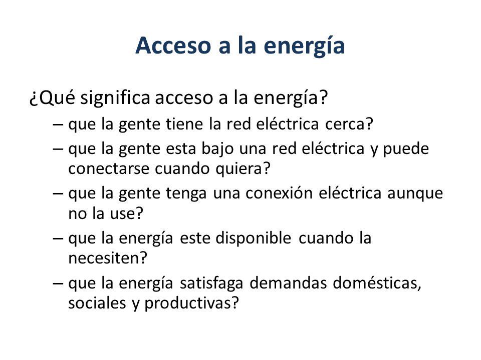 Acceso a la energía ¿Qué significa acceso a la energía
