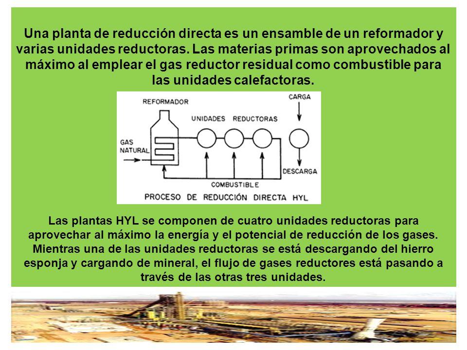 Una planta de reducción directa es un ensamble de un reformador y varias unidades reductoras.