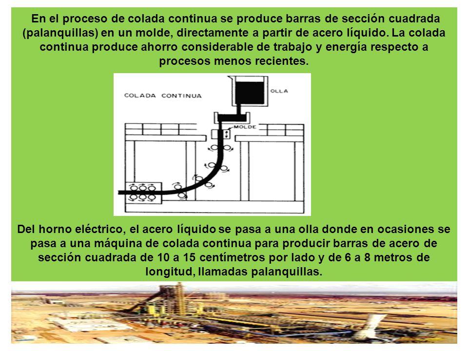 En el proceso de colada continua se produce barras de sección cuadrada (palanquillas) en un molde, directamente a partir de acero líquido.