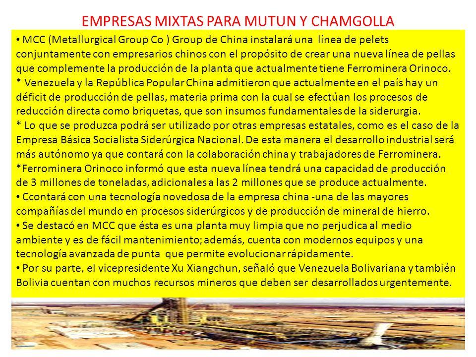 EMPRESAS MIXTAS PARA MUTUN Y CHAMGOLLA