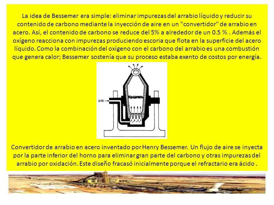 INFRAESTRUCTURA Y LOGISTICA PARA LA SIDERURGIA INTEGRAL La idea de Bessemer era simple: eliminar impurezas del arrabio líquido y reducir su contenido de carbono mediante la inyección de aire en un convertidor de arrabio en acero.