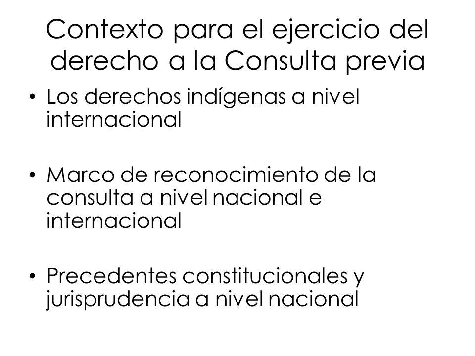 Contexto para el ejercicio del derecho a la Consulta previa
