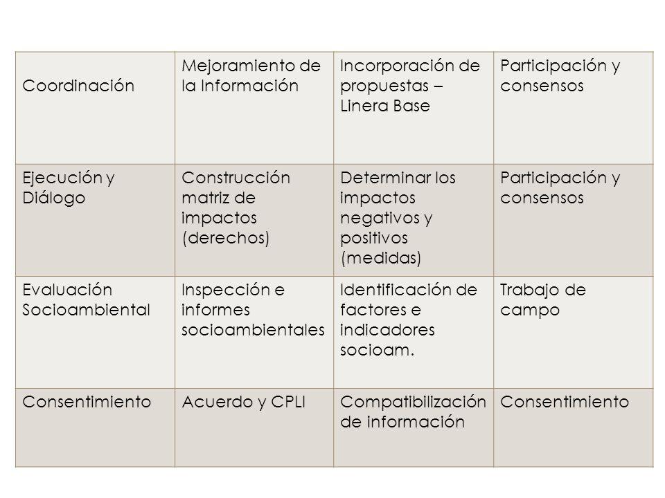 Coordinación Mejoramiento de la Información. Incorporación de propuestas – Linera Base. Participación y consensos.