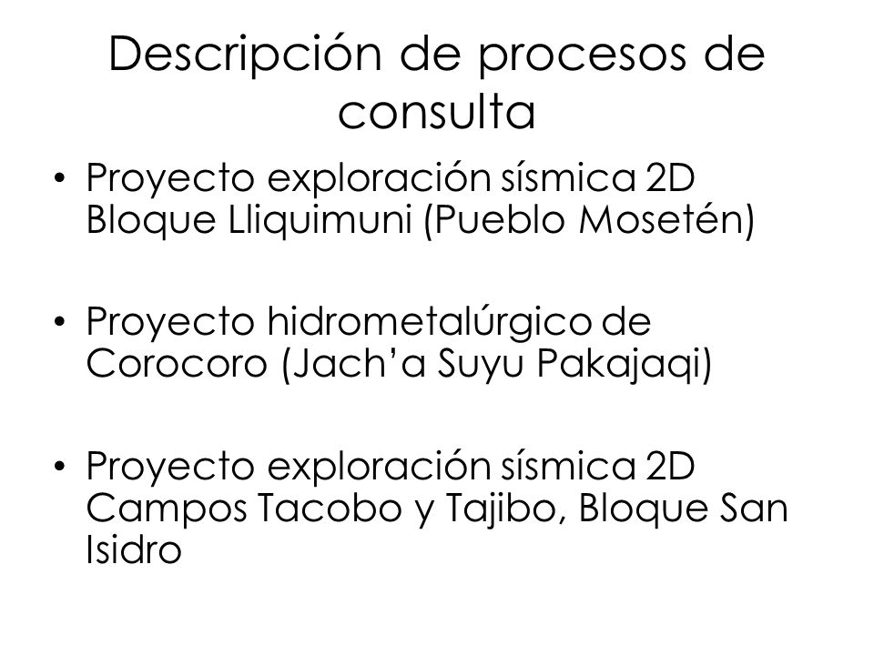 Descripción de procesos de consulta