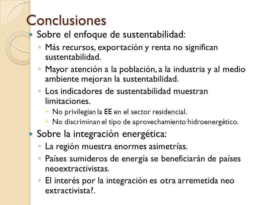 Conclusiones Sobre el enfoque de sustentabilidad: