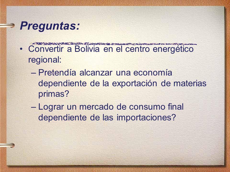 Preguntas: Convertir a Bolivia en el centro energético regional: