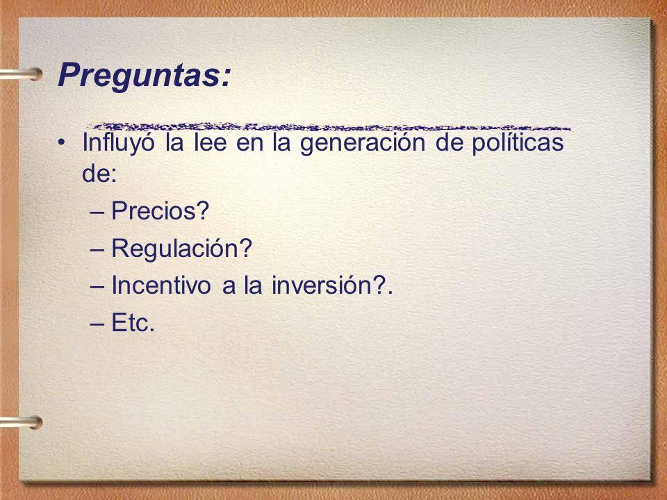 Preguntas: Influyó la Iee en la generación de políticas de: Precios