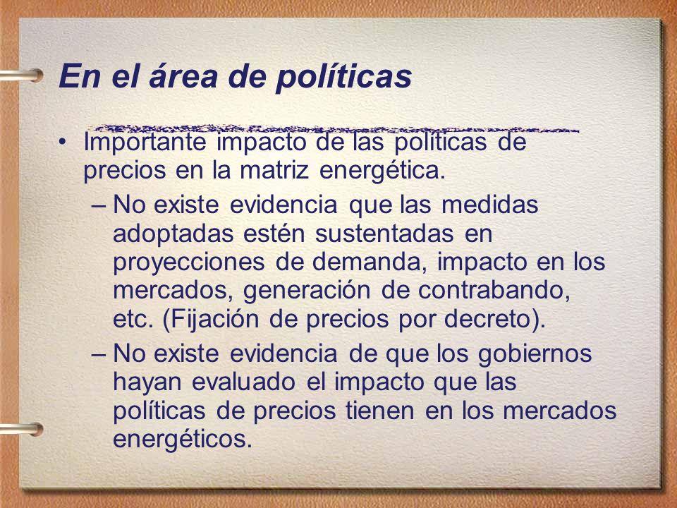 En el área de políticas Importante impacto de las políticas de precios en la matriz energética.