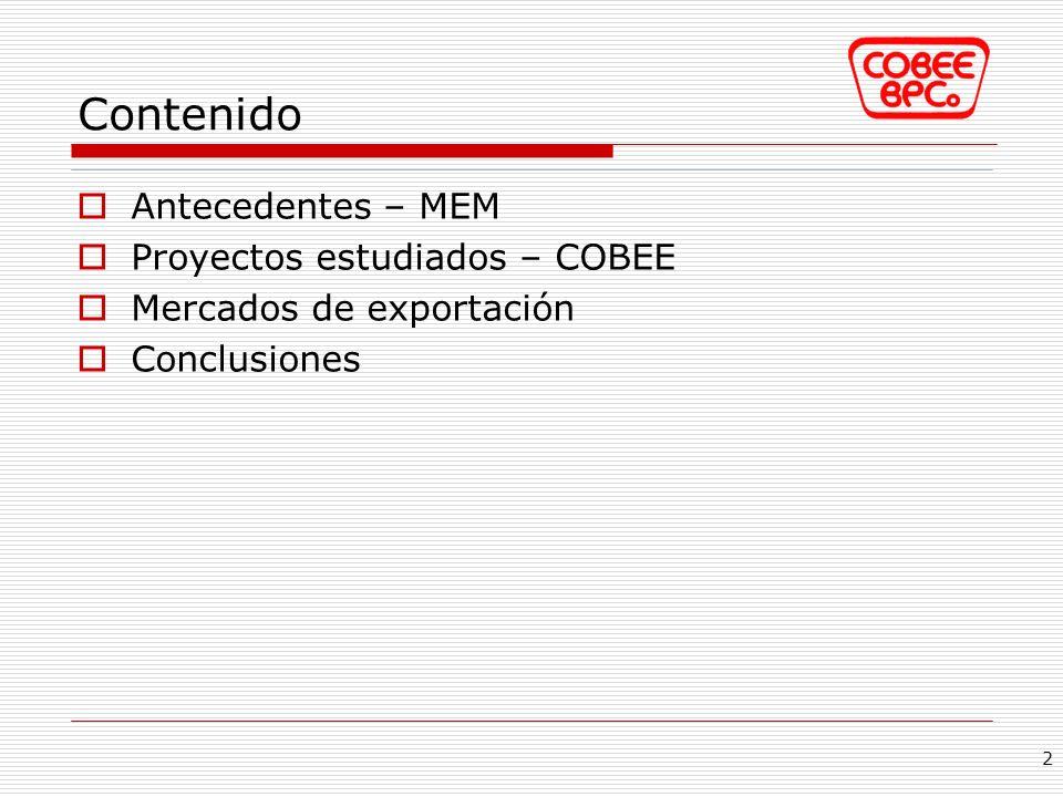 Contenido Antecedentes – MEM Proyectos estudiados – COBEE