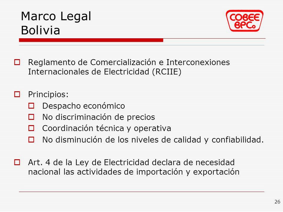 Marco Legal Bolivia Reglamento de Comercialización e Interconexiones Internacionales de Electricidad (RCIIE)
