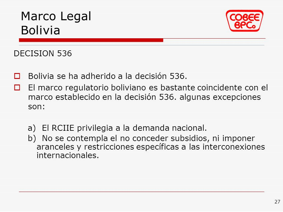 Marco Legal Bolivia DECISION 536