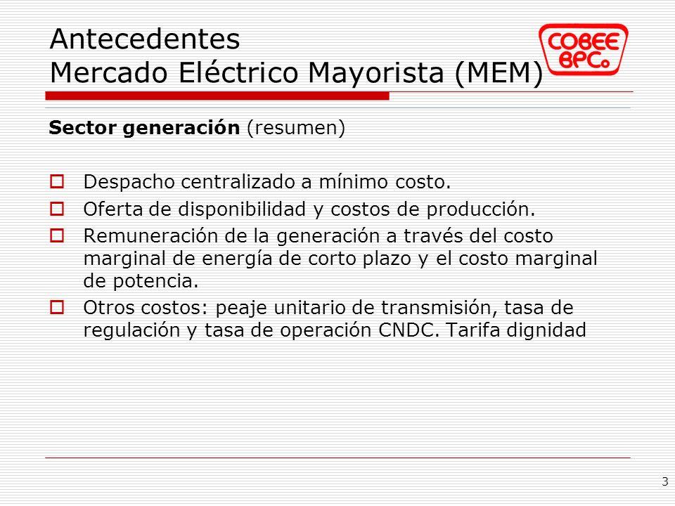 Antecedentes Mercado Eléctrico Mayorista (MEM)