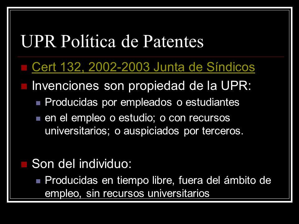 UPR Política de Patentes