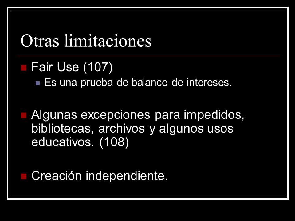 Otras limitaciones Fair Use (107)