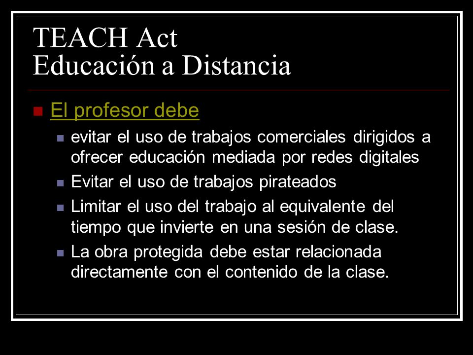 TEACH Act Educación a Distancia