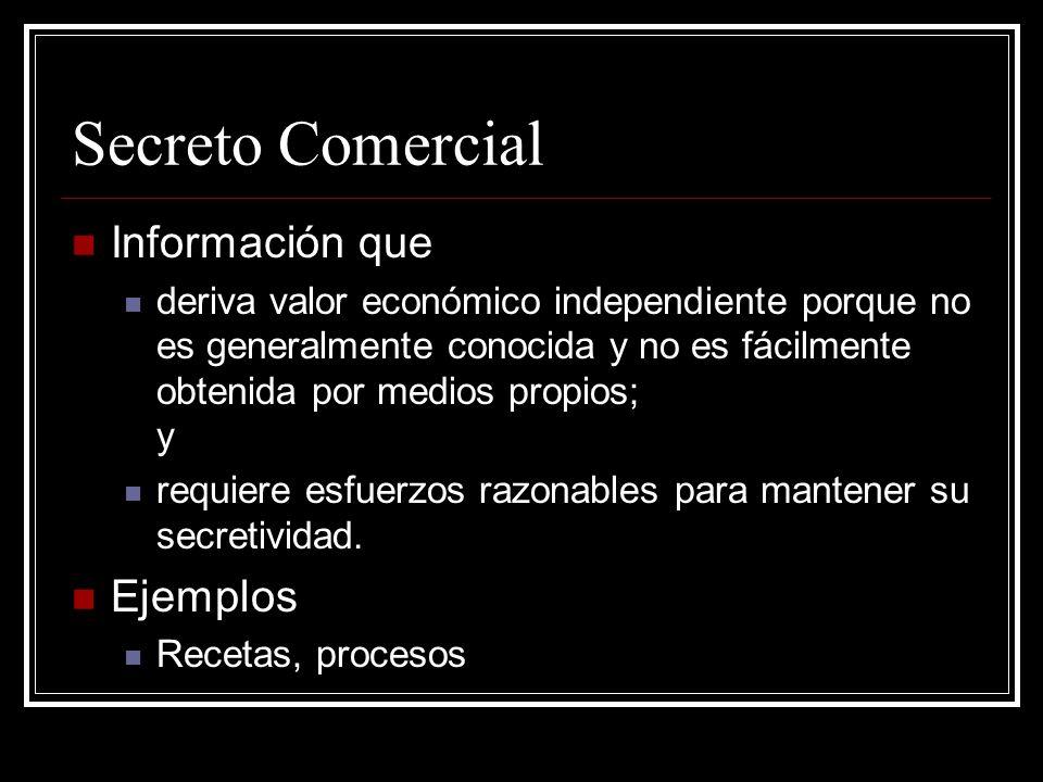 Secreto Comercial Información que Ejemplos