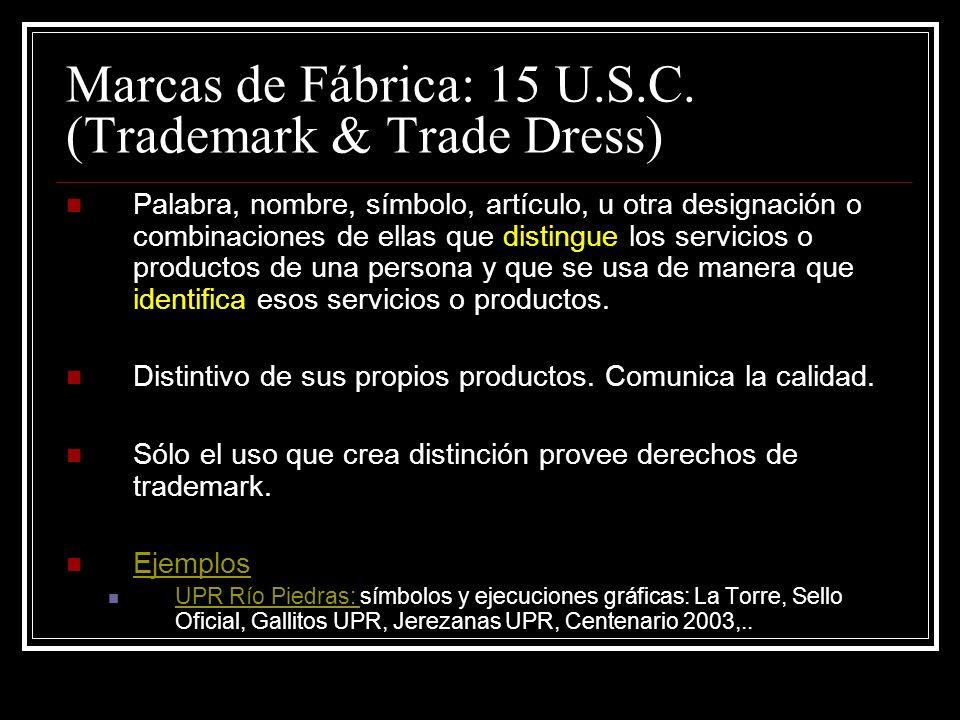 Marcas de Fábrica: 15 U.S.C. (Trademark & Trade Dress)