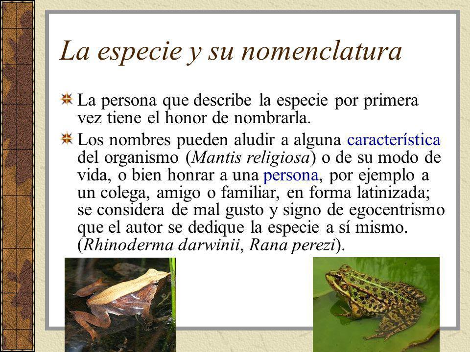 La especie y su nomenclatura