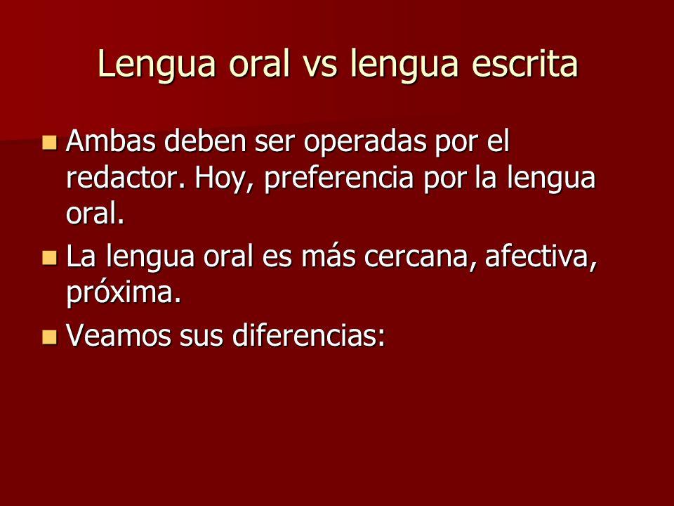 Lengua oral vs lengua escrita