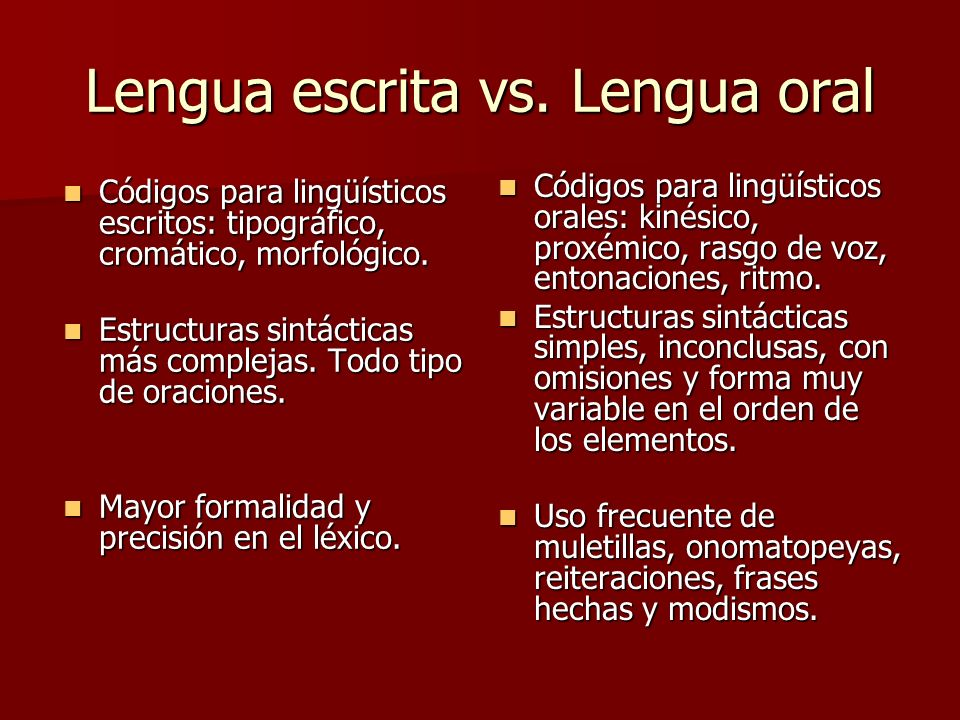 Lengua escrita vs. Lengua oral
