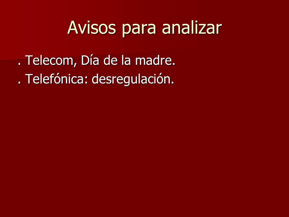 Avisos para analizar . Telecom, Día de la madre.