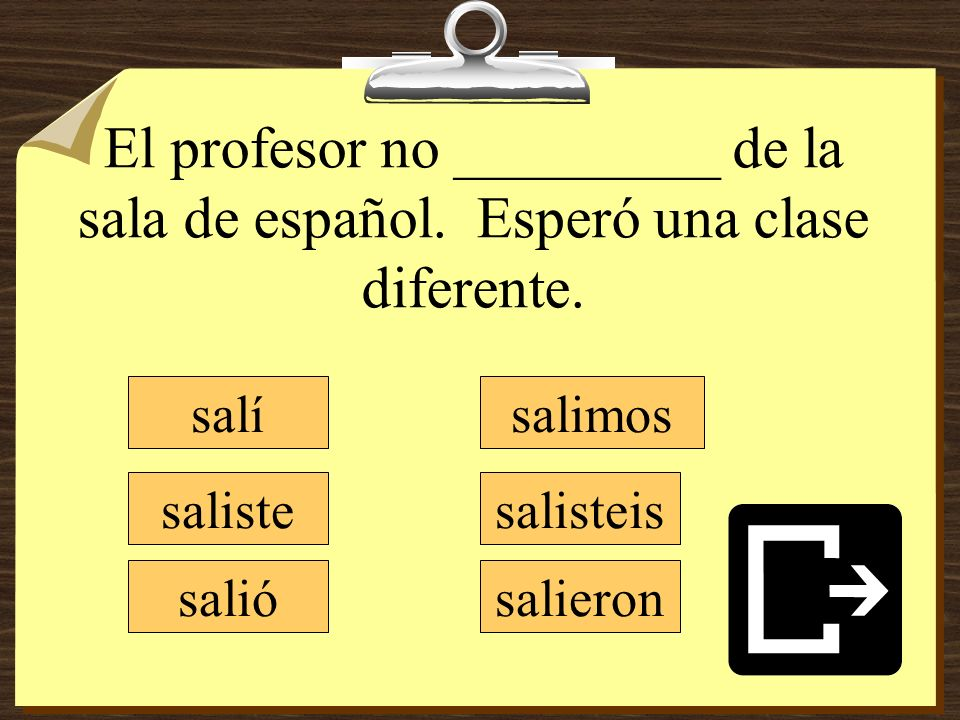 El profesor no _________ de la sala de español