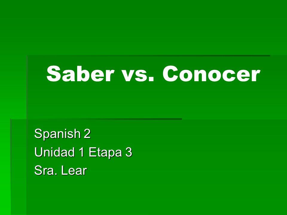 Spanish 2 Unidad 1 Etapa 3 Sra. Lear
