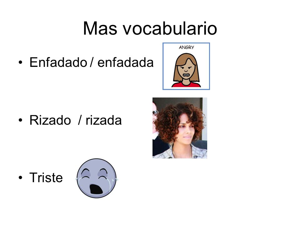 Mas vocabulario Enfadado / enfadada Rizado / rizada Triste