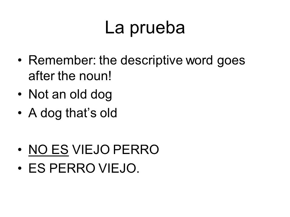 La prueba Remember: the descriptive word goes after the noun!