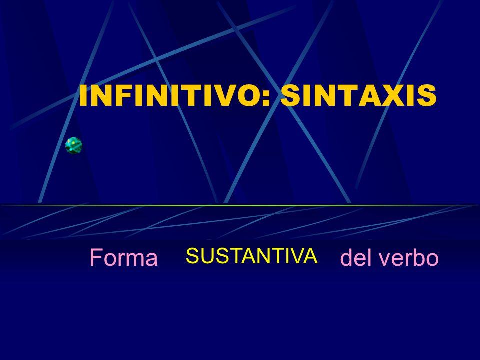 INFINITIVO: SINTAXIS Forma SUSTANTIVA del verbo