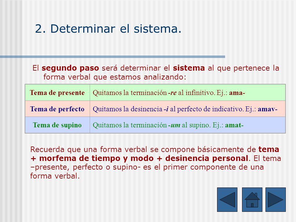 2. Determinar el sistema.El segundo paso será determinar el sistema al que pertenece la forma verbal que estamos analizando: