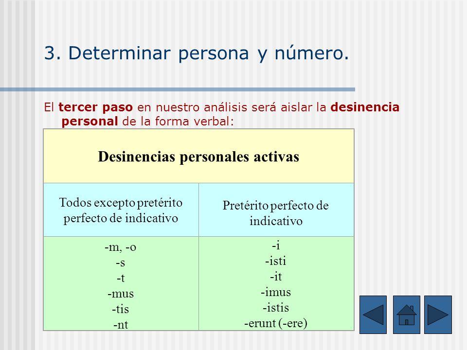 3. Determinar persona y número.