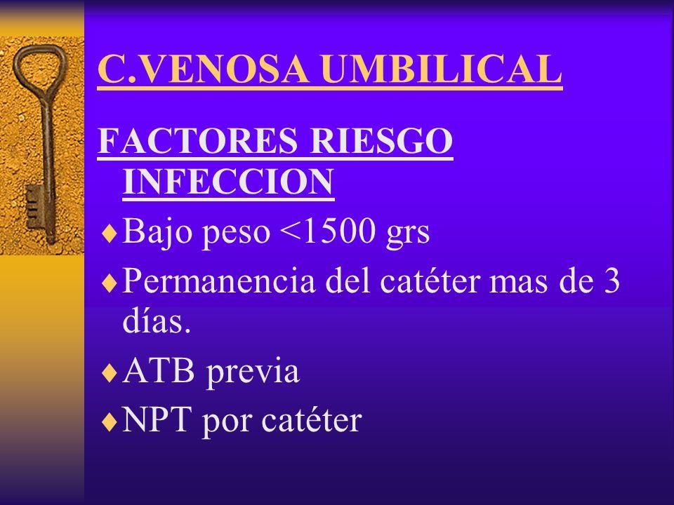 C.VENOSA UMBILICAL FACTORES RIESGO INFECCION Bajo peso <1500 grs