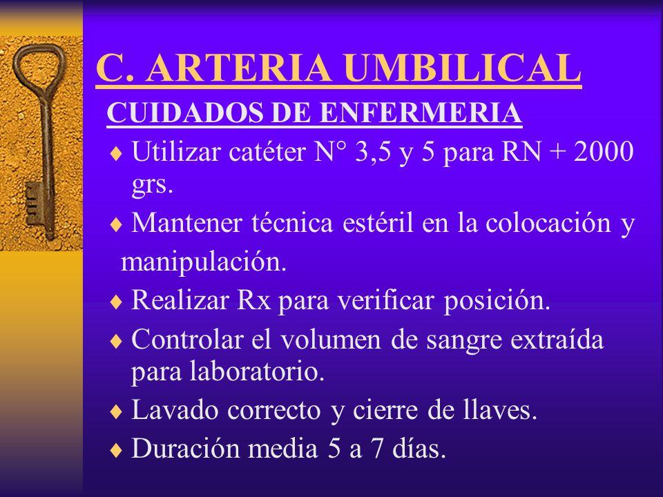 C. ARTERIA UMBILICAL CUIDADOS DE ENFERMERIA