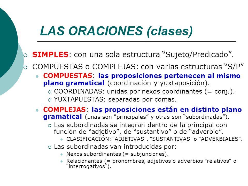 LAS ORACIONES (clases)