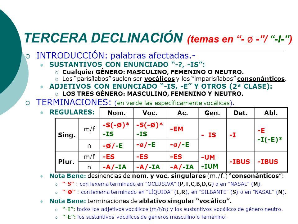 TERCERA DECLINACIÓN (temas en - ø - / -I- )