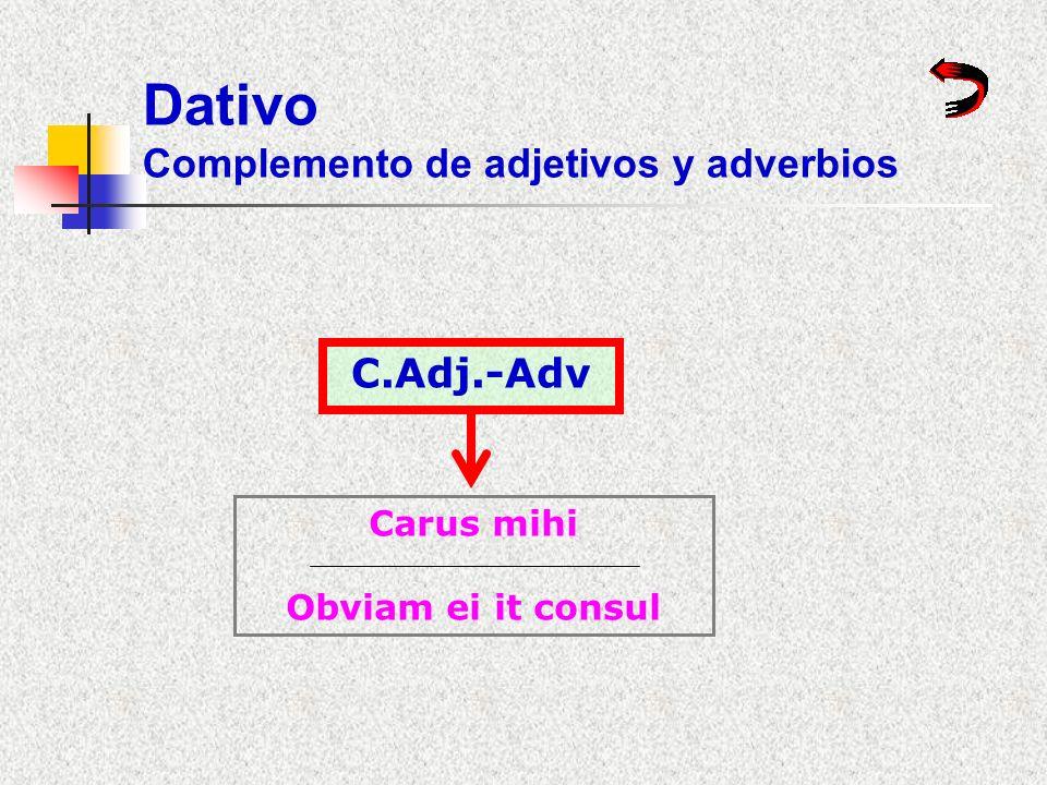 Dativo Complemento de adjetivos y adverbios