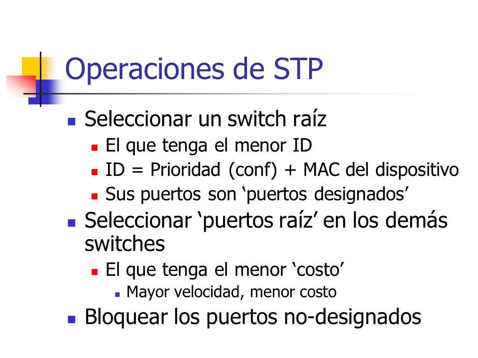 Operaciones de STP Seleccionar un switch raíz