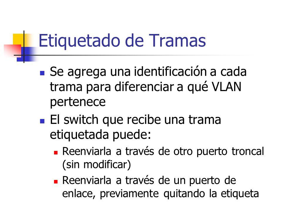 Etiquetado de Tramas Se agrega una identificación a cada trama para diferenciar a qué VLAN pertenece.