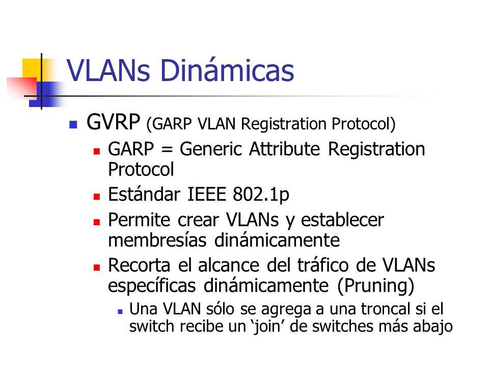 VLANs Dinámicas GVRP (GARP VLAN Registration Protocol)