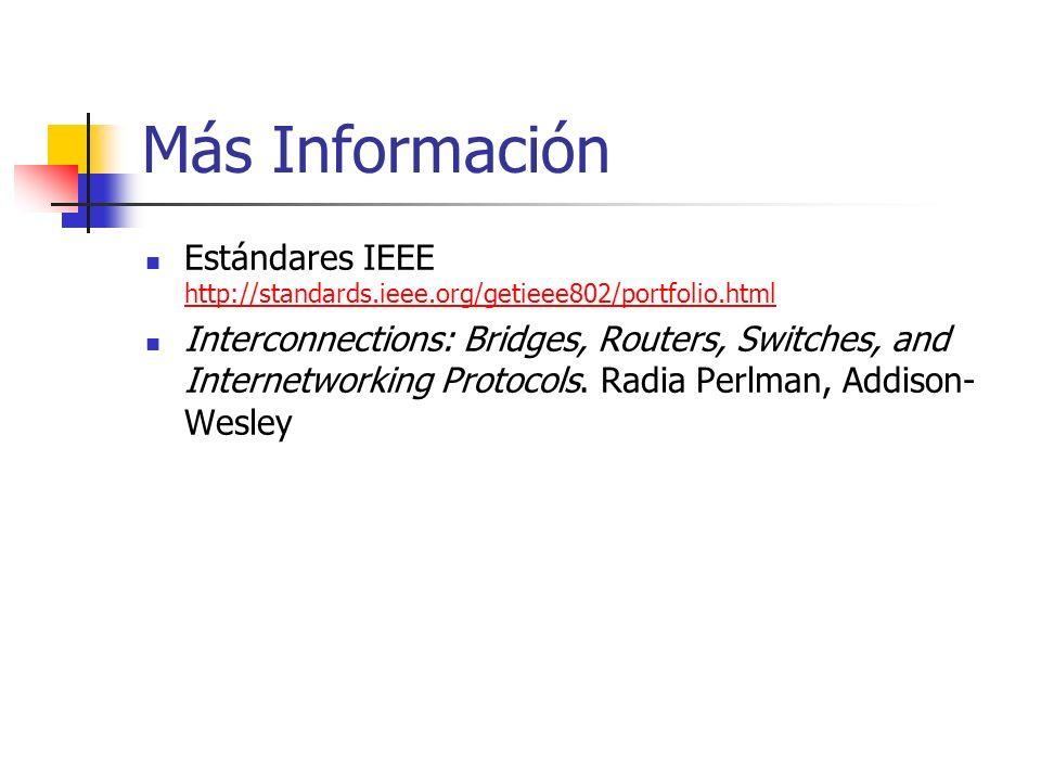 Más Información Estándares IEEE http://standards.ieee.org/getieee802/portfolio.html.
