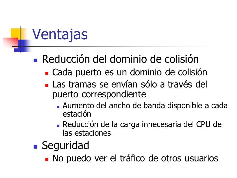 Ventajas Reducción del dominio de colisión Seguridad
