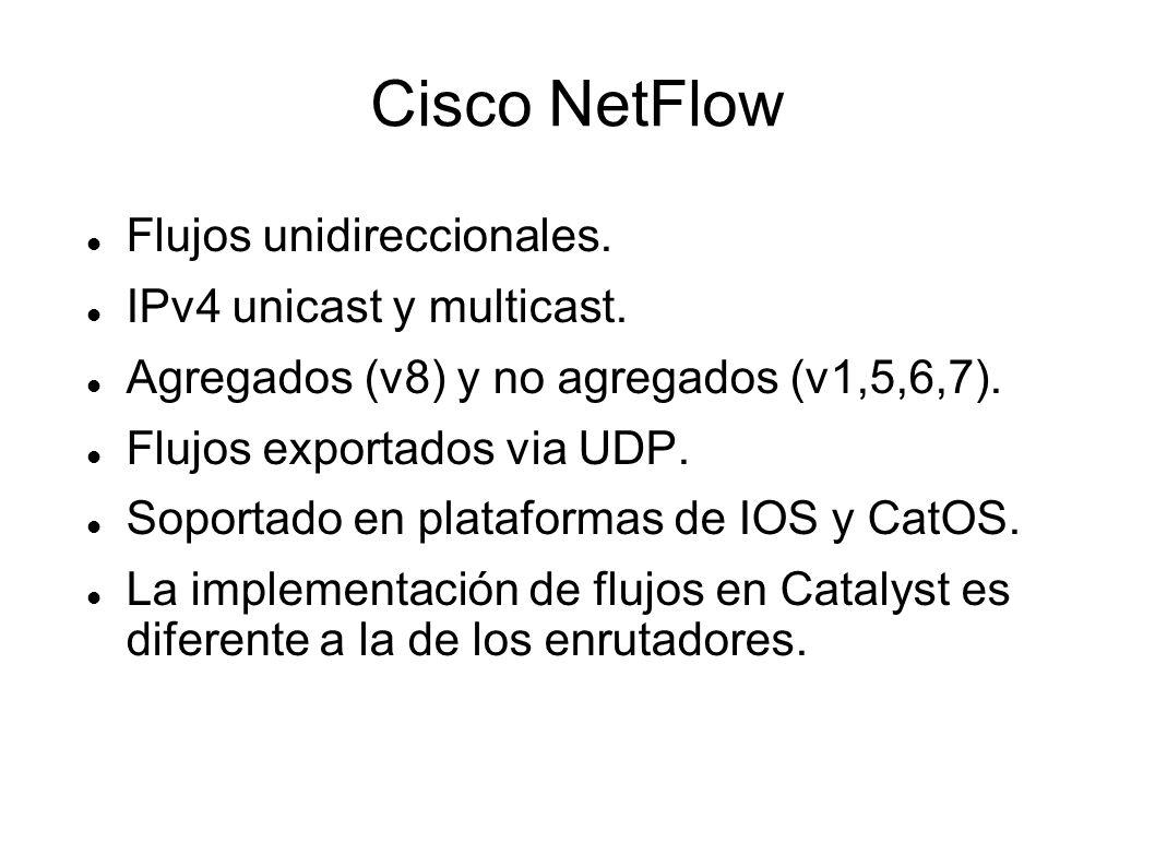 Cisco NetFlow Flujos unidireccionales. IPv4 unicast y multicast.
